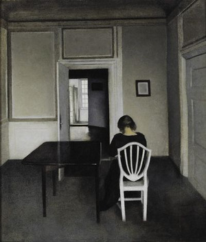 Open doors (Interior with woman in black on white chair. Strandgade 30) 1900