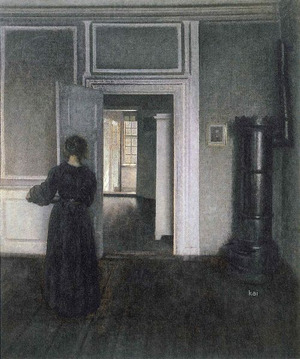 Interior(with stove and standing woman, Strandgade 30),1909- Vilheim Hammershoi