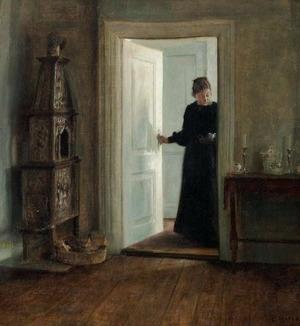 Carl Holsøe. Kunstnerens hustru med bakke i en døråbning by Bruun Rasmussen