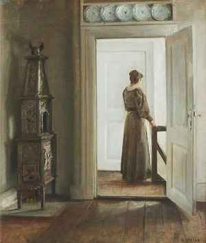 Interior with a woman Carl Holsøe by Bruun Rasmussen