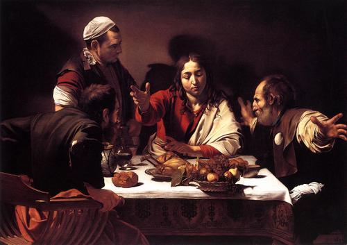カラヴァッジョ(カラヴァッジオ)「エオマの晩餐」(1601-02)  Christ and the disciples at emmaus by Caravaggio